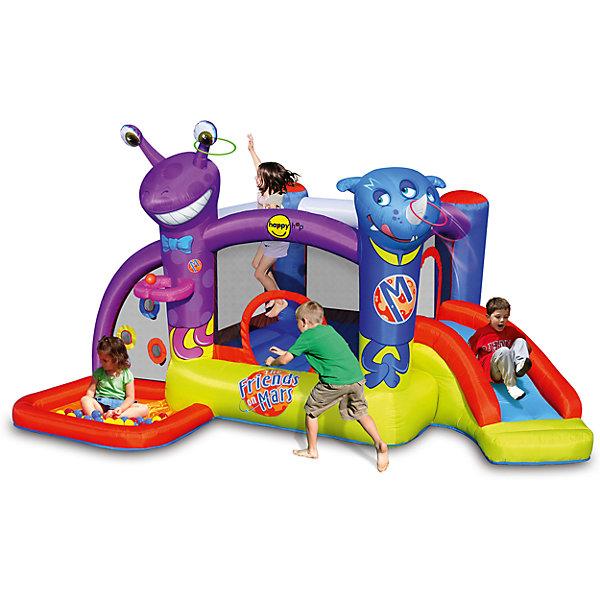 Надувной батут с горкой Друзья с Марса, Happy HopБатуты<br>Характеристики:<br><br>• возраст ребенка: от 3 до 10 лет;<br>• рост ребенка: 90-150 см;<br>• вес одного ребенка: до 45 кг;<br>• количество играющих одновременно детей: 5;<br>• максимальный вес: 135 кг (при этом вес каждого ребенка не должен превышать 45 кг, если играют трое детей, 27 кг - если играют пятеро детей). <br><br>Размеры:<br><br>• размер игрового комплекса: 400х280х215 см;<br>• размер батута: 203х193 см;<br>• высота основания батута: 39 см;<br>• высота прыжковой поверхности: 152х140 см;<br>• высота защитной сетки-ограждения: 83 см;<br>• размер горки: 160х75 см;<br>• высота площадки горки: 62 см;<br>• ширина скользящей поверхности: 50 см;<br>• прочность батута на растяжение: до 136 кг;<br>• прочность на разрыв: до 13,6 кг;<br>• прочность на соединение: до 27,2 кг;<br>• диапазон температур для батута: от -10 до +40 градусов;<br>• диапазон температур для насоса: от -15 до +40 градусов;<br>• размер упаковки: 38х38х53 см;<br>• вес в упаковке: 13,5 кг.<br><br>Дополнительная информация:<br><br>• материал: ламинированный ПВХ, ламинированная ткань Оксфорд;<br>• плотность: ПВХ 360 г/м2, ткани Оксфорд 215 г/м2;<br>• материал застежек: лавсан;<br>• крепеж к земле: пластик;<br>• технология изготовления продукции: машинное сшивание путем соединения тканей ПВХ и Оксфорд.<br><br>Меры предосторожности:<br><br>• использование: установка на открытом воздухе;<br>• только для бытового применения;<br>• при установке батута, изделие обязательно следует крепить пластиковыми кольями к земле.<br><br>Рекомендации от производителя: в течение всего времени использования продукции HAPPY HOP необходимо поддерживать подачу воздуха и обеспечивать непрерывную работу насоса. <br><br>Надувной батут с горкой Друзья с Марса Happy Hop можно купить в нашем интернет-магазине.<br>Ширина мм: 720; Глубина мм: 450; Высота мм: 430; Вес г: 19500; Возраст от месяцев: 36; Возраст до месяцев: 120; Пол: Унисекс; Возраст: Детский; SKU: 5530674;