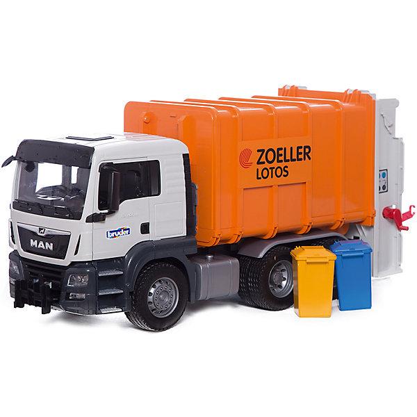 Bruder Мусоровоз MAN TGS (цвет оранжевый) , Bruder bruder фургон man для перевозки животных с коровой 02 749