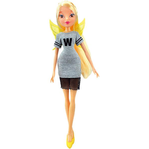 Кукла Стелла Мода и магия-3, Winx ClubИгрушки<br>Характеристики товара:<br><br>• возраст: от 3 лет;<br>• материал: пластик, текстиль;<br>• в комплекте: кукла, платье, крылья;<br>• высота куклы: 28 см;<br>• размер упаковки: 25х20х10 см;<br>• вес упаковки: 167 гр.;<br>• страна производитель: Китай.<br><br>Кукла Стелла «Мода и магия-3» Winx Club создана по мотивам известного мультсериала «Клуб Винкс: Школа волшебниц» про очаровательных фей-волшебниц. Стелла — лучшая подруга главной героини Блум, с которой она любит смотреть комедии, устраивать вечеринки и ходить по магазинам. <br><br>У феи выразительные карие глаза и мягкие светлые волосы, которые можно расчесывать, заплетать и украшать. Одета Стелла в спортивное серое платье с буквой W. Дополняют образ куколки желтые крылышки на спине. У куклы несколько точек артикуляции. Руки сгибаются в локтях и плечах, ноги в бедрах и коленях. <br><br>Куклу Стеллу «Мода и магия-3» Winx Club можно приобрести в нашем интернет-магазине.