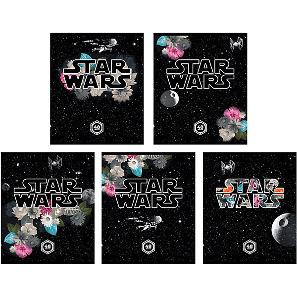 Тетрадь 48 л Звёздные Войны: Вселенная, упаковка из 5 шт.Тетради<br>Тетрадь 48 листов Звёздные Войны: Вселенная, 5 шт.<br><br>Характеристики:<br><br>• Количество: 5 шт.<br>• Формат: А5<br>• Внутренний блок: 48 листов, клетка, офсет<br>• Тип крепления: скрепка<br>• Обложка: мелованный картон<br><br>Комплект тетрадей в клетку Звёздные Войны: Вселенная выполнен в формате А5. Отличная полиграфия и качественная бумага обеспечат высокое качество письма. Обложка из мелованного картона позволит сохранять тетрадь в аккуратном виде в течение всего периода использования.<br><br>Тетрадь 48 листов Звёздные Войны: Вселенная, 5 шт. можно купить в нашем интернет-магазине.<br>Ширина мм: 170; Глубина мм: 50; Высота мм: 205; Вес г: 521; Возраст от месяцев: 60; Возраст до месяцев: 204; Пол: Унисекс; Возраст: Детский; SKU: 5540114;