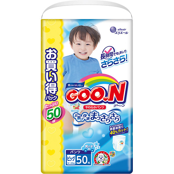 Goon Подгузники-трусики для мальчиков ULTRA JUMBO PACK, XL 12-20 кг., 50 шт., Goon