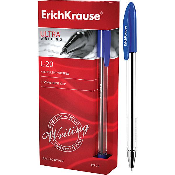 Erich Krause Ручка шариковая ULTRA L-20, 12 шт., Erich Krause набор шариковых ручек erich krause ultra l 10 цвет синий черный 4 шт