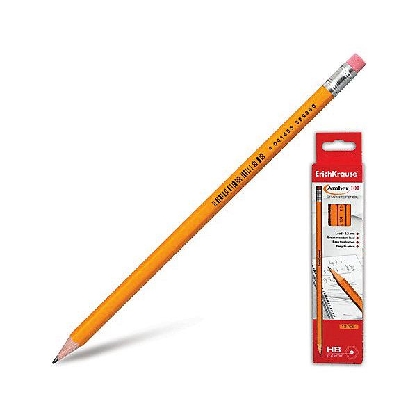 Чернографитный карандаш MEGAPOLIS 101(HB) шестигранный с ластиком, 12 шт., Erich Krause