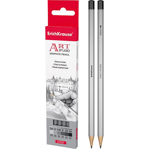 Чернографитный карандаш ART-STUDIO (2H,H,HB,B,2B,4B) шестигранный, 6 шт., Erich KrauseКарандаши<br>Чернографитный карандаш ART-STUDIO (2H,H,HB,B,2B,4B) шестигранный, 6 шт., Erich Krause.<br><br>Характеристики:<br><br>• Количество: 6 шт.<br>• Материал корпуса: древесина<br>• Твердость грифеля: 2H,H,HB,B,2B,4B<br>• Толщина грифеля: 2,0, 2,0, 2,2, 2,4, 2,4, 2,6 мм.<br>• Длина карандаша: 17 см.<br><br>Чернографитные карандаши Erich Krause ART-STUDIO - идеальный инструмент для письма, рисования и черчения. Шестигранный корпус выполнен из древесины. Высококачественный ударопрочный грифель не крошится и не ломается при заточке. В набор входят 6 чернографитных заточенных карандаша различной степени твердости. Торец карандашей заглушен.<br><br>Чернографитный карандаш ART-STUDIO (2H,H,HB,B,2B,4B) шестигранный, 6 шт., Erich Krause можно купить в нашем интернет-магазине.<br>Ширина мм: 45; Глубина мм: 220; Высота мм: 150; Вес г: 120; Возраст от месяцев: 84; Возраст до месяцев: 2147483647; Пол: Унисекс; Возраст: Детский; SKU: 5543308;