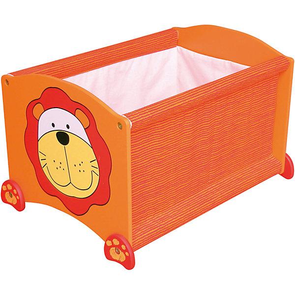 Ящик для хранения Тигр, Im Toy, оранжевыйЯщики для игрушек<br>Ящик для хранения Тигр, Im Toy, оранжевый.<br><br>Характеристики:<br><br>• Для детей в возрасте: от 3 до 6 лет<br>• Материал: древесина, текстиль<br>• Цвет: оранжевый<br>• Размер: 34 х 44 х 32,5 см.<br>• Вес: 2,583 кг.<br><br>Ящик для хранения позволит вам сохранять порядок в детской комнате, а также приучать малыша к аккуратности и к тому, что все вещи должны лежать на своих местах. Ящик выполнен в виде прямоугольной конструкции оранжевого цвета с изображением забавной мордашки тигренка. Он достаточно вместителен. Ящик имеет устойчивое основание, поэтому малыш не опрокинет его во время использования. Углы изделия закруглены. Ящик изготовлен из высококачественной экологичной древесины и текстиля, окрашен безопасными, стойкими к истиранию красителями.<br> <br>Ящик для хранения Тигр, Im Toy, оранжевый можно купить в нашем интернет-магазине.<br>Ширина мм: 34; Глубина мм: 44; Высота мм: 33; Вес г: 2583; Возраст от месяцев: 36; Возраст до месяцев: 72; Пол: Унисекс; Возраст: Детский; SKU: 5543472;