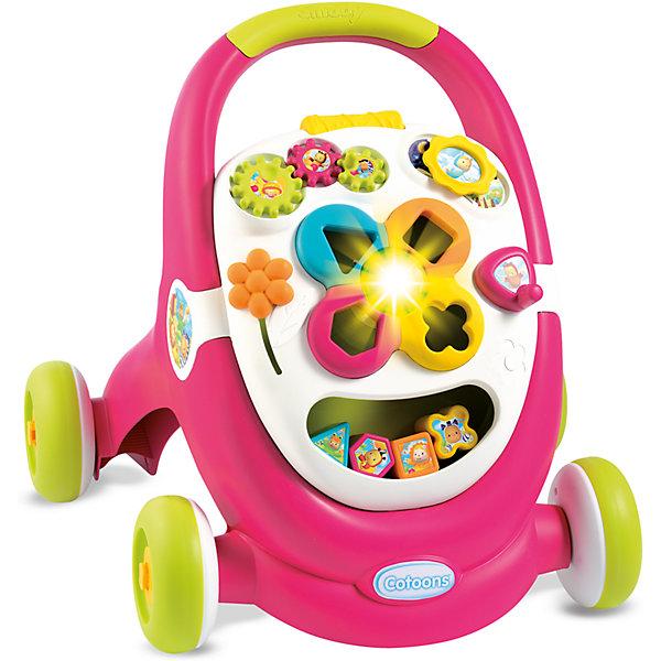 Развивающая каталка Ходунки, розовая, SmobyКаталки для малышей<br>Характеристики товара:<br><br>• возраст от 1 года<br>• материал: пластик<br>• тип батареек: 2 x AG13 / LR44 (миниатюрные)<br>• наличие батареек: взодят в комплект<br>• колёса каталки блокируются<br>• панель со звуком и светом<br>• под ручкой каталки отделение для игрушек<br>• размер каталки 43х51х47 см<br>• размер упаковки 45х57х18 см<br>• вес упаковки 2,7 кг<br>• страна бренда: Франция<br>• страна производитель: Франция<br><br>Развивающая каталка «Ходунки» Smoby — игрушка для малыша, с помощью которой малыш будет учиться ходить. Держась за поручень, малыш начнет делать свои первые шаги и учиться держать равновесие и координировать движения. <br><br>На передней панели каталки расположена игровая панель, оснащенная звуком и светом. На ней малыш найдет развивающие игрушки: яркий сортер с кубиками, шестеренки и рычажок. Развивающие игрушки способствуют развитию мелкой моторики рук, цветового восприятия, тактильных ощущений, логики. На время игр колеса каталки блокируются, чтобы она не двигалась с места. <br><br>Игрушка изготовлена из безопасного качественного пластика с использованием нетоксичных красителей. Работает от 2 батареек LR44 (в комплекте).<br><br>Развивающую каталку «Ходунки» Smoby можно приобрести в нашем интернет-магазине.<br>Ширина мм: 443; Глубина мм: 564; Высота мм: 173; Вес г: 2685; Возраст от месяцев: 12; Возраст до месяцев: 2147483647; Пол: Женский; Возраст: Детский; SKU: 5544430;
