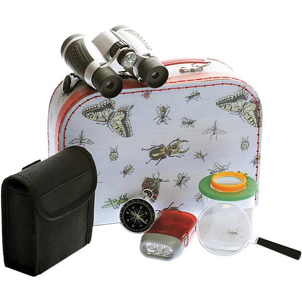 Набор «Исследователь», Egmont ToysХимия и физика<br>Характеристики:<br><br>• материал: металл, пластик, стекло, текстиль;<br>• комплектация: бинокль с футляром, компас, фонарик, лупа, контейнер, кейс для переноски инструментов;<br>• вес: 670 г;<br>• размеры: 30х20х10 см;<br>• упаковка: картонная коробка.<br><br>Набор «Исследователь», Egmont Toys (Эгмонт Тойс) – это набор игрушечных инструментов и инструментов, предназначенный для изучения окружающей среды и животного мира.<br><br>Набор состоит из бинокля с футляром, компаса, лупы и фонарика, контейнера для изучения насекомых и переносного кейса. Все инструменты и приспособления полностью имитируют функционал настоящих исследовательских и лабораторных приспособлений.<br><br>Весь набор удобно складывается в чемоданчик, с которым можно отправиться в поход, для изучения природы. Так же в наборе имеется стильный тканевый чехол для хранения бинокля, который не даст линзам запачкаться. <br><br>Набор «Исследователь», Egmont Toys можно купить в нашем интернет-магазине.<br>Ширина мм: 300; Глубина мм: 200; Высота мм: 100; Вес г: 670; Возраст от месяцев: 36; Возраст до месяцев: 2147483647; Пол: Унисекс; Возраст: Детский; SKU: 5544490;