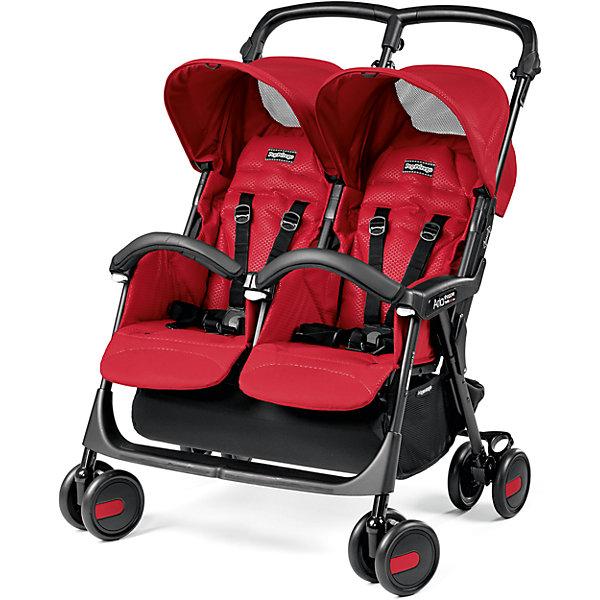 коляски для двойни и погодок Peg Perego Прогулочная коляска для двойни Peg-Perego Aria Shopper Twin, Mod Red