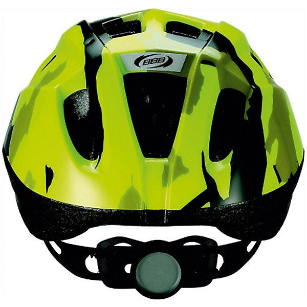 Летний шлем Boogy камуфляж/неон/желтый, BBBЗащитные аксессуары<br>Характеристики товара:<br><br>• возраст от 3 лет;<br>• материал: ударопрочный пластик;<br>• 12 вентиляционных отверстий<br>• светоотражающие элементы сзади<br>• размер упаковки 27х24х18 см;<br>• вес упаковки 500 гр.;<br>• страна производитель: Китай.<br><br>Летний шлем Boogy Камуфляж желтый ВВВ надежно защитит голову во время падения при езде на велосипеде. Ремешки шлема настраиваются индивидуально для комфортной посадки. 12 вентиляционных отверстий на корпусе обеспечивают хороший воздухообмен. Сетка в вентиляционных отверстиях защищает от насекомых. Мягкие накладки обладают антибактериальными свойствами, а также по мере необходимости снимаются для стирки. На задней части шлема расположены светоотражающие элементы для видимости в темное время суток. Шлем выполнен из ударопрочного материала.<br><br>Летний шлем Boogy Камуфляж желтый ВВВ можно приобрести в нашем интернет-магазине.<br>Ширина мм: 270; Глубина мм: 240; Высота мм: 180; Вес г: 500; Цвет: желтый; Возраст от месяцев: 96; Возраст до месяцев: 144; Пол: Унисекс; Возраст: Детский; Размер: 52-56,48-54; SKU: 5566002;