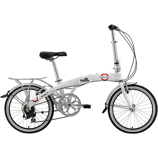 Велосипед  Subway, белый, WeltВелосипеды и аксессуары<br>Характеристики товара:<br><br>• цвет: белый<br>• возраст: от 14 лет<br>• алюминиевая  рама <br>• магнитная защелка<br>• складные педали<br>• багажник, подножка, крылья в комплекте<br><br>Технические характеристики:<br>• Рама: Alloy 6061 <br>• Диаметр колес: 20<br>• Кол-во скоростей: 7<br>• Тип вилки: жесткая (Rigid steel)<br>• Переключатель задний : Shimano FT-30<br>• Шифтеры: Shimano RS-35 R 7spd <br>• Тип тормозов: V-brake<br>• Тормоза: Artek 216DG<br>• Система: Prowheel Solid 48T <br>• Кассета: Shimano TZ21 14-28T<br>• Тип рулевой колонки:  1-1/8 безрезьбовая<br>• Покрышки: Wanda P1159<br><br>Велосипед Subway 20 -это удобный велосипед, на котором можно передвигаться по городу или брать с собой на природу. Универсальная система сложения позволяет перевозить его в багажнике автомобиля.<br><br>Велосипед RU Bicycle Subway 20, White, Welt можно купить в нашем интернет-магазине.<br>Ширина мм: 1450; Глубина мм: 200; Высота мм: 800; Вес г: 16500; Возраст от месяцев: 168; Возраст до месяцев: 2147483647; Пол: Унисекс; Возраст: Детский; SKU: 5569436;