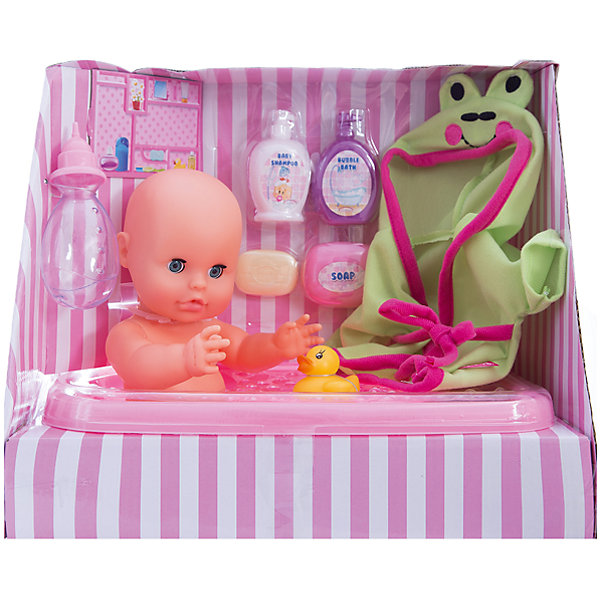 Пупс Bambolina, пьет и писает, с аксессуарами для купания, 33 см , DIMIANИнтерактивные куклы<br>Пупс Bambolina, пьет и писает, с аксессуарами для купания, 33 см , DIMIAN (Димиан)<br><br>Характеристики:<br><br>• реалистично пьет и писает<br>• в комплекте: кукла, ванночка, бутылочка, халат, мыльница, мыло, Шампунь, Пена для ванны, игрушка<br>• размер куклы: 33 см<br>• материал: пластик, ПВХ, текстиль<br>• размер упаковки: 29х20,5х34,5 см<br>• вес: 950 грамм<br><br>Пупс Bambolina - настоящий подарок для заботливой девочки, мечтающей почувствовать себя мамой, ухаживающей за малышом. Личико и тело пупса выглядят очень реалистично. К тому же, пупс Bambolina очень реалистично пьет и даже писает. Девочка сможет напоить малыша, посадить его на горшок, а затем искупать в ванночке с душистой пеной. Чтобы малыш не скучал в ванне, можно предложить ему красивую игрушку. После купания девочка укутает пупса в халатик и снова напоит вкусным молоком. Очаровательный пупс Bambolina поможет девочке научиться проявлять заботу и, конечно же, подарит много радости!<br><br>Пупса Bambolina, пьет и писает, с аксессуарами для купания, 33 см , DIMIAN (Димиан) вы можете купить в нашем интернет-магазине.<br>Ширина мм: 345; Глубина мм: 205; Высота мм: 290; Вес г: 950; Возраст от месяцев: 36; Возраст до месяцев: 2147483647; Пол: Женский; Возраст: Детский; SKU: 5571404;