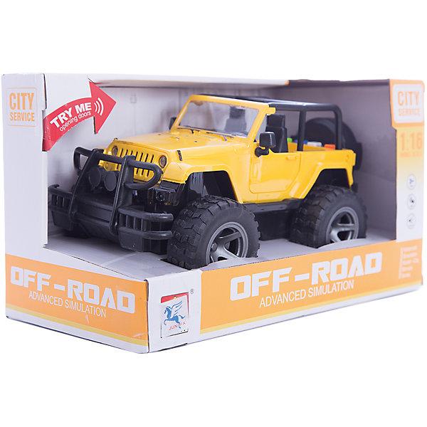 Купить Джип 1:16, инерционный, со светом и звуком, желтый, Junfa, Junfa Toys, Китай, Мужской