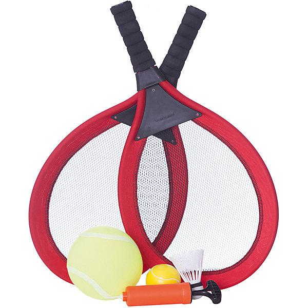 Набор Теннис, 6 предметов, ABtoysБадминтон и теннис<br>Набор Теннис, 6 предметов, Abtoys (АБтойс)<br><br>Характеристики:<br><br>• в комплекте: 2 ракетки, волан, теннисный мяч, мяч, насос<br>• материал: пластик, полиуретан, текстиль<br>• размер упаковки: 63х32х8 см<br>• вес: 310 грамм<br><br>С набором Теннис от популярного бренда ABtoys ребенок сможет играть в разнообразные игры, способствующие физическому развитию. В набор входят две ракетки, мяч, теннисный мяч, волан и насос. Вы можете играть в теннис и бадминтон с мячом или воланом. Набор Теннис компактен в собранном виде, поэтому вам будет удобно взять его с собой на прогулку или на пляж.<br><br>Набор Теннис, 6 предметов, Abtoys (АБтойс) вы можете купить в нашем интернет-магазине.<br>Ширина мм: 630; Глубина мм: 320; Высота мм: 80; Вес г: 310; Возраст от месяцев: 36; Возраст до месяцев: 2147483647; Пол: Унисекс; Возраст: Детский; SKU: 5571443;