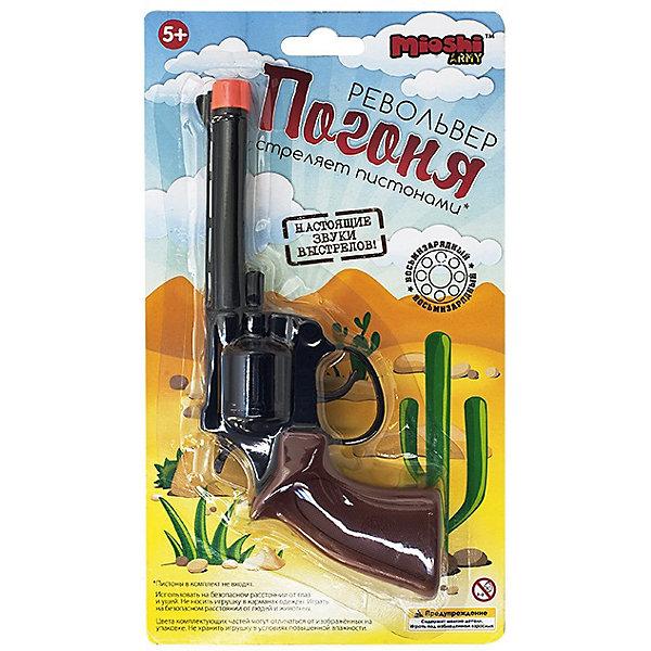 Револьвер Погоня, 20 см, Mioshi ArmyИгрушечные пистолеты и бластеры<br>Характеристики товара:<br><br>• возраст от 6 лет;<br>• материал: металл, пластик;<br>• длина револьвера 20 см;<br>• размер упаковки 26,2х15х4 см;<br>• вес упаковки 140 гр.;<br>• страна производитель: Китай.<br><br>Револьвер «Погоня» Mioshi Army обязательно понравится мальчику и позволит ему попробовать себя в роли полицейского, ведущего погоню за опасным преступником. Он выглядит как самый настоящий пистолет, а также издает звук выстрела. Игрушка изготовлена из качественного пластика, а барабан из металла. Игрушка безопасна для детей.<br><br>Револьвер «Погоня» Mioshi Army можно приобрести в нашем интернет-магазине.<br>Ширина мм: 262; Глубина мм: 150; Высота мм: 40; Вес г: 140; Возраст от месяцев: 72; Возраст до месяцев: 2147483647; Пол: Мужской; Возраст: Детский; SKU: 5581229;