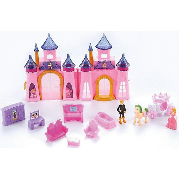Замок для куклы  Dolly Toy Королевский дворец, DollyToyОдежда для кукол<br>Характеристики товара:<br><br>• возраст от 3 лет;<br>• материал: пластик;<br>• в комплекте: складной замок, 2 куклы, карета с лошадкой, аксессуары;<br>• размер упаковки 52х36х6,5 см;<br>• вес упаковки 1 кг;<br>• страна производитель: Китай.<br><br>Замок для куклы «Королевский дворец» DollyToy обязательно понравится девочке. С таким набором можно придумывать разнообразные сюжеты и истории для игр, проявляя фантазию. Куколка побудет принцессой, которая живет в сказочном замке. У нее есть своя королевская карета. Световые и звуковые эффекты сделают игру еще более сказочной и увлекательной.<br><br>Замок для куклы «Королевский дворец» DollyToy можно приобрести в нашем интернет-магазине.