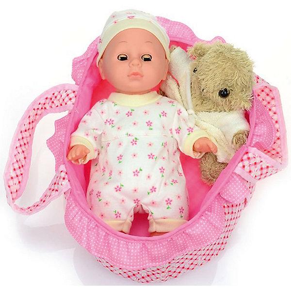 Пупс Озорной карапуз, 30 см, DollyToyКуклы-пупсы<br>Характеристики товара:<br><br>• возраст от 3 лет;<br>• материал: пластик, текстиль;<br>• в комплекте: кукла, люлька, подушка, игрушка;<br>• высота куклы 30 см;<br>• размер упаковки 33х33х10 см;<br>• вес упаковки 654 гр.;<br>• страна производитель: Китай.<br><br>Пупс «Озорной карапуз» DollyToy привьет девочке чувство заботы и ответственности. С ним девочка может придумывать сюжеты для игры, заботясь о малыше. Когда он захочет поспать, его можно уложить в удобную колыбельку с подушкой. А для веселых игр есть плюшевая игрушка.<br><br>Пупса «Озорной карапуз» DollyToy можно приобрести в нашем интернет-магазине.<br>Ширина мм: 330; Глубина мм: 330; Высота мм: 100; Вес г: 654; Возраст от месяцев: 36; Возраст до месяцев: 72; Пол: Женский; Возраст: Детский; SKU: 5581288;