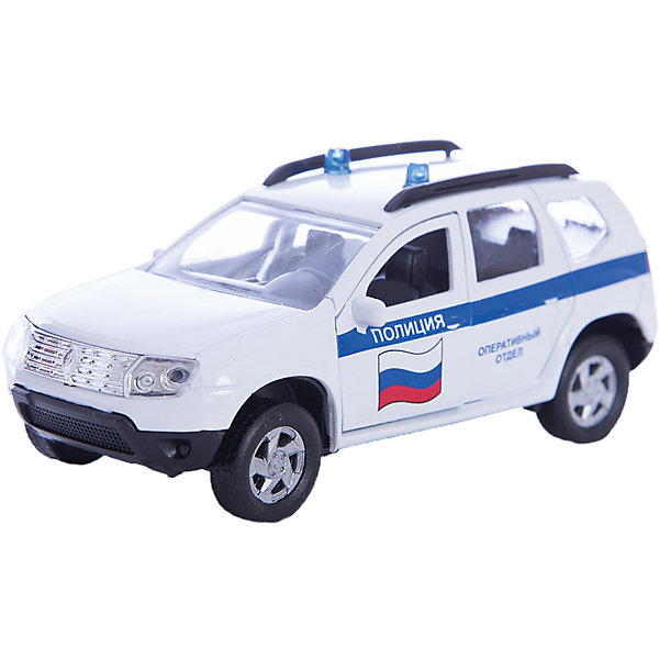 Машинка Renault Duster полиция 1:38, AutotimeМашинки<br>Машинка Renault Duster полиция 1:38, Autotime (Автотайм).<br><br>Характеристики:<br><br>• Масштаб 1:38<br>• Длина машинки: 11 см.<br>• Материал: металл, пластик<br>• Цвет: белый<br>• Упаковка: картонная коробка блистерного типа<br>• Размер упаковки: 16,5x5,7x7,2 см.<br><br>Машинка Renault Duster полиция от Autotime (Автотайм) является уменьшенной копией полицейского автомобиля. Renault Duster - компактный кроссовер. Название можно перевести как Пыльник, т.е. это внедорожник — автомобиль для пыльных дорог. Модель имеет высокую степень детализации. Корпус машинки изготовлен из металла, а все дополнительные элементы из пластика. Автомобиль очень реалистично раскрашен. Передние двери открываются, что позволяет рассмотреть салон изнутри в деталях. Машинка оснащена инерционным механизмом. Полицейская машинка Renault Duster станет хорошим подарком и ребенку, и коллекционеру моделей автомобилей.<br><br>Машинку Renault Duster полиция 1:38, Autotime (Автотайм) можно купить в нашем интернет-магазине.<br>Ширина мм: 165; Глубина мм: 57; Высота мм: 75; Вес г: 23; Возраст от месяцев: 36; Возраст до месяцев: 2147483647; Пол: Мужской; Возраст: Детский; SKU: 5583859;