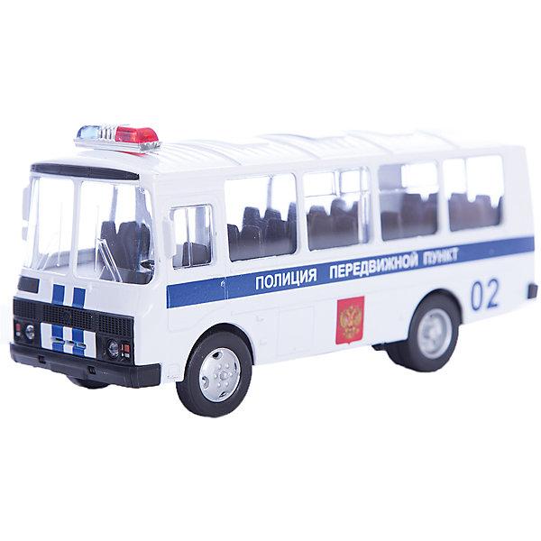 Машинка ПАЗ-32053 полиция 1:43, AutotimeМашинки<br>Характеристики товара:<br><br>• цвет: белый<br>• материал: металл, пластик<br>• размер упаковки: 22х7х17 см<br>• вес: 100 г<br>• масштаб: 1:43<br>• хорошая детализация<br>• вращаются колеса<br>• коллекционная<br>• страна бренда: Россия<br>• страна производства: Китай<br><br>Металлическая машинка ПАЗ-32053 от бренда AUTOTIME придется по душе мальчикам. Это идеальный подарок для ценителя и коллекционера автомобилей, которые выполнены с подробной детализацией. Игрушка является настоящей копией автобуса. Колеса машинки вращаются. Поэтому она может стать и частью коллекции, и выступать отдельной игрушкой.<br><br>Машинка может выполнять сразу несколько функций: развлекать ребенка, помогать вырабатывать практические качества: ловкость, координацию, мелкую моторику. Также в процессе увлекательной игры развивается фантазия ребенка. Изделие выполнено из сертифицированных материалов, безопасных для детей.<br><br>Машинку ПАЗ-32053 полиция от бренда AUTOTIME можно купить в нашем интернет-магазине.<br>Ширина мм: 165; Глубина мм: 57; Высота мм: 75; Вес г: 13; Возраст от месяцев: 36; Возраст до месяцев: 2147483647; Пол: Мужской; Возраст: Детский; SKU: 5583981;