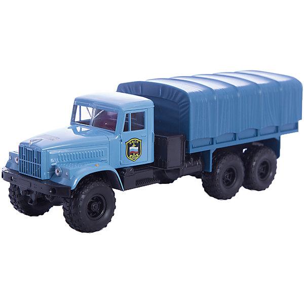 Машинка KRAZ-255B ОМОН, AutotimeМашинки<br>Характеристики товара:<br><br>• цвет: голубой<br>• материал: металл, пластик<br>• длина: 20 см<br>• размер упаковки: 22х7х17 см<br>• вес: 100 г<br>• масштаб: 1:43<br>• хорошая детализация<br>• вращаются колеса<br>• коллекционная<br>• страна бренда: Россия<br>• страна производства: Китай<br><br>Многие мальчики в детстве мечтают стать героями. Эта машинка позволит вашему ребенку представить себя на месте отважного спасателя! Коллекционная модель машины - это уменьшенная копия грузовика. Данная модель выполнена с тщательной детализацией и представлена в масштабе 1:43. Кабина грузовика окрашена в характерный цвет. <br><br>Машинка может выполнять сразу несколько функций: развлекать ребенка, помогать вырабатывать практические качества: ловкость, координацию, мелкую моторику. Также в процессе увлекательной игры развивается фантазия ребенка. Изделие выполнено из сертифицированных материалов, безопасных для детей. Машинка стимулирует двигательную активность ребенка, дает представление об устройстве автомобиля. Эта модель станет отличным подарком как отдельная игрушка, а также может пополнить коллекцию юного ценителя техники.<br><br>Машинку KRAZ-255B ОМОН от бренда AUTOTIME можно купить в нашем интернет-магазине.<br>Ширина мм: 250; Глубина мм: 95; Высота мм: 110; Вес г: 25; Возраст от месяцев: 36; Возраст до месяцев: 2147483647; Пол: Мужской; Возраст: Детский; SKU: 5583998;