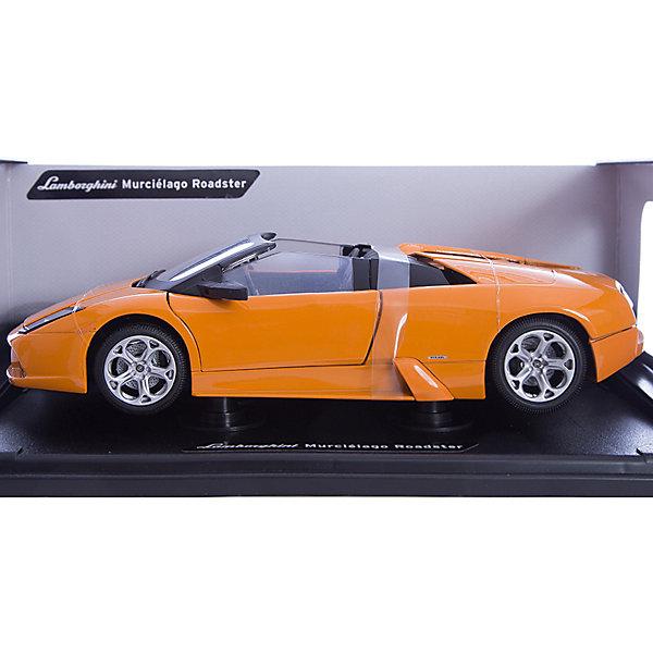 Машинка Lamborghini Murcielago R. 1:18, AutotimeМашинки<br>Характеристики товара:<br><br>• цвет: черный, белый<br>• возраст: от 3 лет<br>• материал: металл, пластик<br>• масштаб: 1:18<br>• колеса поворачиваются<br>• открывается капот и багажник<br>• двери открываются<br>• размер упаковки: 12х31х16 см<br>• вес с упаковкой: 300 г<br>• страна бренда: Россия, Китай<br>• страна изготовитель: Китай<br><br><br>Такая машинка представляет собой миниатюрную копию реально существующей модели. Она отличается высокой детализацией, является коллекционной моделью. <br><br>Сделана машинка из прочного и безопасного металла с добавление пластмассы. Благодаря прозрачным стеклам виден подробно проработанный салон.<br><br>Машинку «Lamborghini Murcielago R.1:18», Autotime (Автотайм) можно купить в нашем интернет-магазине.<br>Ширина мм: 350; Глубина мм: 158; Высота мм: 120; Вес г: 15; Возраст от месяцев: 36; Возраст до месяцев: 2147483647; Пол: Мужской; Возраст: Детский; SKU: 5584119;