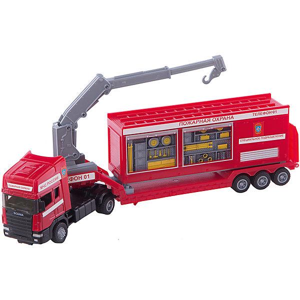 Autotime Машинка Scania база на платформе, пожарная 1:48, Autotime autotime машинка transport truck контейнеровоз 1 48 autotime