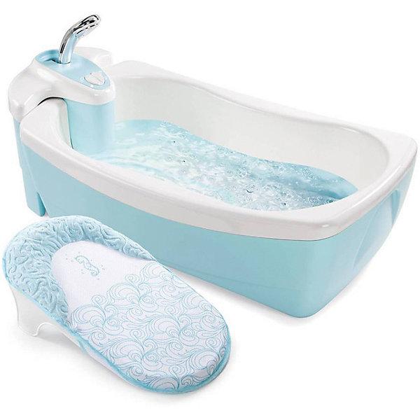 Ванна LilLuxuries, Summer Infant, голубойТовары для купания<br>Характеристики товара:<br><br>• возраст: с рождения;<br>• материал: пластик;<br>• размер ванночки: 73х46х25 см;<br>• размер упаковки: 73х46х25 см;<br>• вес упаковки: 4,6 кг;<br>• страна производитель: Китай.<br><br>Ванна LilLuxuries Summer Infant голубая — настоящая ванна-джакузи для малышей с первых дней жизни. Специальный моторчик создает пузыри и вибрации в воде. Для самых маленьких в комплекте предусмотрена мягкая вставка с подголовником. Ванночка оснащена съемным душевым блоком. Подача воды осуществляется простым нажатием кнопки включения. Душевой блок может в последствии использоваться в обычной ванне. Функция создания пузырей работает от батареек (в комплект не входят).<br><br>Ванну LilLuxuries Summer Infant голубая можно приобрести в нашем интернет-магазине.<br>Ширина мм: 730; Глубина мм: 460; Высота мм: 250; Вес г: 4600; Возраст от месяцев: 0; Возраст до месяцев: 24; Пол: Унисекс; Возраст: Детский; SKU: 5589109;