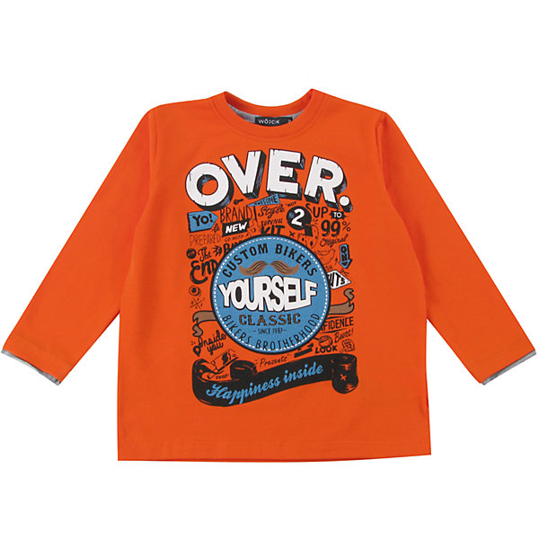 Футболка с длинным рукавом для мальчика WojcikФутболки с длинным рукавом<br>Характеристики товара:<br><br>• цвет: оранжевый<br>• состав ткани: 92% хлопок, 8% эластан<br>• сезон: демисезон<br>• длинные рукава<br>• страна бренда: Польша<br>• страна изготовитель: Польша<br><br>Бренд Wojcik - это польская детская одежда отличного качества по доступной цене. Яркий детский лонгслив декорирован принтом. Удобный лонгслив для детей сделан из дышащего мягкого материала. Такая футболка с длинным рукавом для мальчика Войчик легко надевается. <br><br>Лонгслив для мальчика Wojcik (Войчик) можно купить в нашем интернет-магазине.<br>Ширина мм: 230; Глубина мм: 40; Высота мм: 220; Вес г: 250; Цвет: оранжевый; Возраст от месяцев: 18; Возраст до месяцев: 24; Пол: Мужской; Возраст: Детский; Размер: 92,134,128,122,116,110,104,98; SKU: 5592199;
