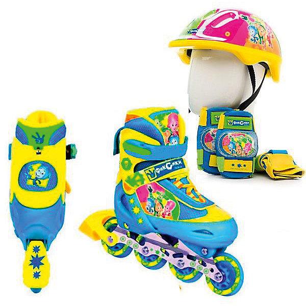 Купить Набор: ролики раздвижные, набор защиты, шлем, Фиксики, р30-33, Next, Китай, синий, Унисекс