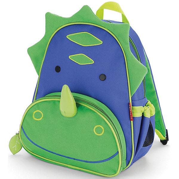 Рюкзак детский Динозавр, Skip HopДетские рюкзаки<br>Характеристики товара:<br><br>• возраст от 3 лет;<br>• материал: полиэстер;<br>• размер рюкзака 25х29х11 см;<br>• вес рюкзака 270 гр.;<br>• страна производитель: Китай.<br><br>Рюкзак детский «Динозавр» Skip Hop выполнен в виде зеленого динозаврика. На молниях висят брелки в виде листочка. Ребенок сможет брать с собой все необходимое на прогулку, в детский садик, в гости, на дачу. В основном отделении поместятся тетради, альбомы, блокноты, карандаши, фломастеры. Спереди кармашек для дополнительных мелочей, а сбоку для бутылочки с напитком или бокса для еды. <br><br>Мягкие регулируемые лямки обеспечивают комфортное ношение. Предусмотрена небольшая ручка для переноски в руках или подвешивания. Рюкзак выполнен из прочной качественной ткани. Его можно стирать в стиральной машине.<br><br>Рюкзак детский «Динозавр» Skip Hop можно приобрести в нашем интернет-магазине.<br>Ширина мм: 290; Глубина мм: 50; Высота мм: 320; Вес г: 350; Возраст от месяцев: 24; Возраст до месяцев: 72; Пол: Унисекс; Возраст: Детский; SKU: 5608248;