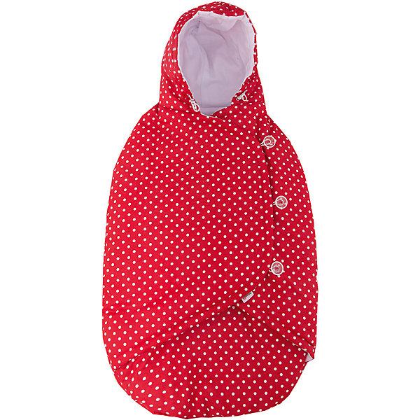 Конверт-кокон Mammie, демисезон, красный горошекДетские конверты<br>Конверт-кокон  демисезон, Mammie, красный горошек.<br><br>Характеристики:<br><br>• Для детей с рождения до 6 месяцев<br>• Температурный диапазон: от -15°С до +15°С.<br>• Размер изделия: 80х40 см.<br>• Цвет: красный в белый горошек<br>• Материал верха: 100% хлопок<br>• Материал утеплителя: Alpolux 150 г/м?<br>• Материал подкладки: интерлок (100% хлопок)<br>• Материал кармана для ног: Alpolux 200 г/м?<br>• Уход: машинная стирка при 40 °С<br><br>Демисезонный конверт-кокон от бренда Mammie - идеальный вариант для выписки из роддома, поездок и путешествий с малышом в автолюльке. Его уникальная конструкция предусматривает удобные прорези под ремни безопасности, что позволяет, не потревожив кроху, надежно зафиксировать его в автокресле. Малыша можно пристегнуть как внутри, так и поверх конверта. Кроме того, эту модель можно использовать и как обычный конверт для коляски, так как прорези спрятаны под полами, что исключает доступ холодного воздуха внутрь кокона. Удобный капюшон утягивается с помощью специальных завязок. Кармашек для ног застегивается с обеих сторон на молнии. Полы конверта закрываются одна поверх другой. Для того, чтобы не побеспокоить ребенка во время сна, на изделии в качестве застежек предусмотрены пуговки, что позволяет бесшумно застегнуть и расстегнуть конверт. Утеплитель премиум класса Alpolux сочетает в себе натуральную шерсть мериноса и специальные микроволокна, которые помогают поддержать оптимальную для новорождённого температуру: малышу будет тепло на улице и в тоже время комфортно в помещении.<br><br>Конверт-кокон  демисезон, Mammie, красный горошек можно купить в нашем интернет-магазине.<br>Ширина мм: 200; Глубина мм: 300; Высота мм: 50; Вес г: 100; Возраст от месяцев: 0; Возраст до месяцев: 6; Пол: Унисекс; Возраст: Детский; SKU: 5613238;
