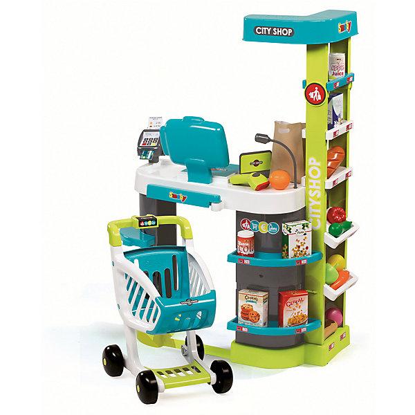 Супермаркет игровой City Shop, со светом и звуком, SmobyДетский супермаркет<br>Характеристики товара:<br><br>• возраст от 3 лет;<br>• материал: пластик;<br>• в комплекте: супермаркет, тележка, 4 коробочки, овощи и фрукты, эклер, батон, пирожное, 2 баночки, ключ, сканер, банковская карта, разделитель, 4 карточки, 6 монет, 12 купюр, бумажный пакет;<br>• работает от 2 батареек АА (в комплект не входят);<br>• размер магазина 59,5х32,4х86 см;<br>• размер упаковки 49,4х23,7х69,7 см;<br>• вес упаковки 4,01 кг;<br>• страна производитель: Франция.<br><br>Супермаркет игровой City Shop Smoby представляет собой настоящий магазин с тележкой, продуктами и кассовым аппаратом. Он познакомит девочку с устройством супермаркета и кассового аппарата, а также позволит ей придумать игры, представляя себя продавцом или покупателем. На полках расставлены продукты для продажи, за стойкой расположился кассовый аппарат с монетами, купюрами и терминалом для карт. В большую тележку можно сложить необходимые продукты. Игрушка оснащена сенсорным дисплеем, на котором отображается сумма покупки, и звуковыми эффектами. Во время игры слышны звуки сканера, который считывает штрих-код. <br><br>Супермаркет игровой City Shop Smoby можно приобрести в нашем интернет-магазине.<br>Ширина мм: 494; Глубина мм: 237; Высота мм: 697; Вес г: 4010; Возраст от месяцев: 36; Возраст до месяцев: 96; Пол: Унисекс; Возраст: Детский; SKU: 5613492;