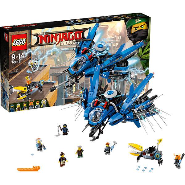 LEGO NINJAGO 70614: Самолёт-молния ДжеяПластмассовые конструкторы<br>Характеристики товара: <br><br>• возраст: от 9 лет;<br>• материал: пластик;<br>• в комплекте: 877 деталей, 5 минифигурок;<br>• размер упаковки: 54х28,2х7,9 см;<br>• вес упаковки: 1,19 кг;<br>• страна производитель: Чехия.<br><br>Конструктор Lego Ninjago «Самолет-молния Джея» создан по мотивам нового фильма «Лего-фильм: Ниндзяго», где отважным воинам ниндзя противостоит грозный Гармадон. Из элементов собираются боевые машины — самолет Джея и механический краб акульей армии. Дверь кабины пилота самолета открывается, наверху установлены шутеры и механизм, извергающий молнии. Краб имеет подвижную клешню для захвата противника.<br><br>Конструктор Lego Ninjago «Самолет-молния Джея» можно приобрести в нашем интернет-магазине.<br>Ширина мм: 542; Глубина мм: 281; Высота мм: 78; Вес г: 1195; Возраст от месяцев: 108; Возраст до месяцев: 168; Пол: Мужской; Возраст: Детский; SKU: 5619997;