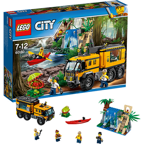 LEGO City 60160: Передвижная лаборатория в джунгляхПластмассовые конструкторы<br>Характеристики товара: <br><br>• возраст: от 7 лет;<br>• материал: пластик;<br>• в комплекте: 426 деталей, 4 минифигурки;<br>• размер упаковки: 26,2х38,2х7,1 см;<br>• вес упаковки: 825 гр.;<br>• страна производитель: Чехия.<br><br>Конструктор Lego City «Передвижная лаборатория в джунглях» из серии Лего Сити, посвященной изучению джунглей. Из деталей собирается большой грузовик с лабораторий внутри для исследований и проведения опытов. У грузовика открывается крыша, колеса вращаются. Внутри все необходимое оборудования для изучения джунглей. В тайнике под водопадом спрятан драгоценный кристалл, но только в водопаде живет опасный аллигатор.<br><br>Конструктор Lego City «Передвижная лаборатория в джунглях» можно приобрести в нашем интернет-магазине.<br>Ширина мм: 384; Глубина мм: 264; Высота мм: 76; Вес г: 826; Возраст от месяцев: 84; Возраст до месяцев: 144; Пол: Мужской; Возраст: Детский; SKU: 5620025;