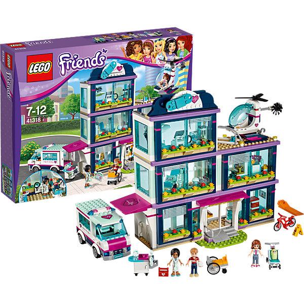 LEGO Friends 41318: Клиника Хартлейк-СитиПластмассовые конструкторы<br>Характеристики товара: <br><br>• возраст: от 7 лет;<br>• материал: пластик;<br>• в комплекте: 871 деталь, 4 минифигурки;<br>• размер упаковки: 48х37,8х9,4 см;<br>• вес упаковки: 1,67 кг;<br>• страна производитель: Китай.<br><br>Конструктор Lego Friends «Клиника Хартлейк-Сити» из серии Лего Подружки, разработанной специально для девочек. Из деталей собирается госпиталь, вертолет для доставки больных и машина скорой помощи. Госпиталь представляет собой большой трехэтажное здание. На третьем этаже находится площадка для посадки вертолета. У машины вращаются колеса. В кабину можно посадить фигурку. Задняя дверь открывается и внутри перевозятся носилки для больных.<br><br>Конструктор Lego Friends «Клиника Хартлейк-Сити» можно приобрести в нашем интернет-магазине.<br>Ширина мм: 473; Глубина мм: 373; Высота мм: 96; Вес г: 1682; Возраст от месяцев: 84; Возраст до месяцев: 144; Пол: Женский; Возраст: Детский; SKU: 5620046;