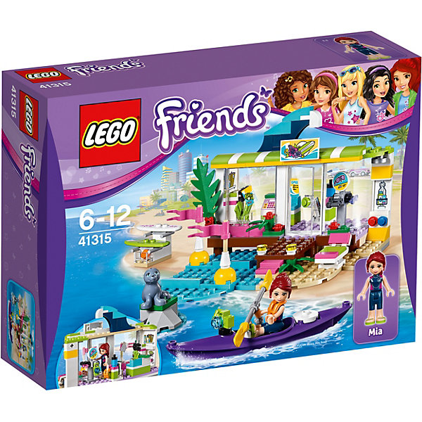 LEGO Friends 41315: Сёрф-станцияПодарочные наборы<br>Характеристики товара: <br><br>• возраст: от 6 лет;<br>• материал: пластик;<br>• в комплекте: 186 деталей, 1 минифигурка, фигурка морского котика;<br>• размер упаковки: 26,2х19,1х7,2 см;<br>• вес упаковки: 360 гр.;<br>• страна производитель: Китай.<br><br>Конструктор Lego Friends «Серф-станция» из серии Лего Подружки, разработанной специально для девочек. Он позволит собрать небольшой магазинчик, продающий товары для занятий серфингом, куда отправилась очаровательная Мия. В магазинчике можно приобрести все необходимое: тут есть и доски, очки для подводного плавания, ласты, жилеты и многое другое. У магазина открывается и закрывается дверь, и вращается стойка с товарами.<br><br>Конструктор Lego Friends «Серф-станция» можно приобрести в нашем интернет-магазине.<br>Ширина мм: 261; Глубина мм: 192; Высота мм: 76; Вес г: 358; Возраст от месяцев: 72; Возраст до месяцев: 144; Пол: Женский; Возраст: Детский; SKU: 5620050;