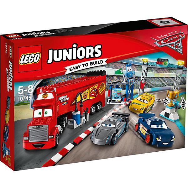 LEGO Juniors 10745: Финальная гонка «Флорида 500»Конструкторы Лего<br>Характеристики товара: <br><br>• возраст: от 5 лет;<br>• материал: пластик;<br>• в комплекте: 266 деталей;<br>• размер упаковки: 38,2х26,2х7,1 см;<br>• вес упаковки: 700 гр.;<br>• страна производитель: Чехия.<br><br>Конструктор Lego Juniors «Финальная гонка Флорида 500» создан по мотивам известного мультфильма Дисней «Тачки». Из деталей конструктора собираются любимые персонажи: Молния Маккуин, Крус Рамирес, трейлер Мак, Гвидо. Молния Маккуин собирается участвовать в гонках, а противостоит ему Джексон Шторм. Они сражаются, чтобы выиграть главный кубок.<br><br>Конструктор Lego Juniors «Финальная гонка Флорида 500» можно приобрести в нашем интернет-магазине.<br>Ширина мм: 382; Глубина мм: 264; Высота мм: 78; Вес г: 728; Возраст от месяцев: 60; Возраст до месяцев: 96; Пол: Мужской; Возраст: Детский; SKU: 5620057;