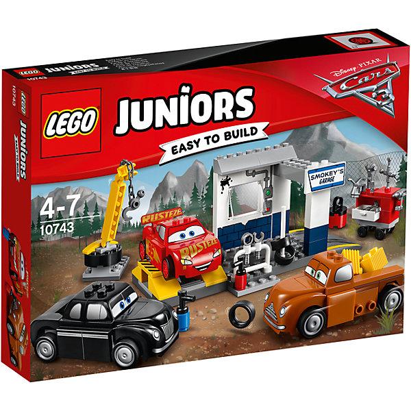 Конструктор LEGO Juniors 10743 Тачки 3: Гараж СмоукиПластмассовые конструкторы<br>Характеристики товара:<br><br>• возраст: от 4 лет;<br>• материал: пластик;<br>• в комплекте: 116 деталей, инструкция;<br>• размер упаковки: 26,2х19,1х4,6 см;<br>• вес упаковки: 305 гр.;<br>• страна производитель: Венгрия.<br><br>Конструктор Lego Juniors «Гараж Смоуки» создан по мотивам мультфильма «Тачки 3». Молния МакКуин тренируется и готовится к стартам вместе со Смоуки и Джуниором Муром. Они готовятся к гонке и исправляют неполадки в специальном гараже Смоуки. Тут они могут заменить шины, провести ремонт при помощи инструментов. Для перемещения тяжелых предметов используется кран с подвижной платформой и вращающимся крюком.<br><br>Из элементов предстоит собрать сразу 3 любимых персонажей, кран, гараж и ящик с инструментами. Все детали конструктора созданы из качественных безопасных материалов. В процессе сборки у ребенка развивается мелкая моторика рук, усидчивость, логическое мышление.<br><br>Конструктор Lego Juniors «Гараж Смоуки» можно приобрести в нашем интернет-магазине.<br>Ширина мм: 263; Глубина мм: 190; Высота мм: 53; Вес г: 308; Возраст от месяцев: 48; Возраст до месяцев: 2147483647; Пол: Мужской; Возраст: Детский; SKU: 5620059;