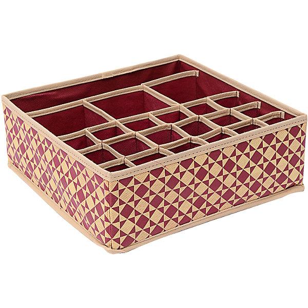 Органайзер на 18+3+1 (30*30*11) Bordo, HomsuОрганайзеры для одежды<br>Характеристики товара:<br><br>• цвет: бежевый<br>• материал: спанбонд, картон, ПВХ<br>• размер: 30х30х11 см<br>• вес: 200 г<br>• легкий прочный каркас<br>• обеспечивает естественную вентиляцию<br>• вместимость: 22 отделения<br>• страна бренда: Россия<br>• страна изготовитель: Китай<br><br>Органайзер на 18+3+1 Bordo от бренда Homsu (Хомсу) - очень удобная вещь для хранения вещей и эргономичной организации пространства.<br><br>Он легкий, устойчивый, вместительный, обеспечивает естественную вентиляцию.<br><br>Органайзер на 18+3+1 Bordo (30*30*11), Homsu можно купить в нашем интернет-магазине.<br>Ширина мм: 530; Глубина мм: 110; Высота мм: 20; Вес г: 200; Возраст от месяцев: 216; Возраст до месяцев: 1188; Пол: Унисекс; Возраст: Детский; SKU: 5620175;