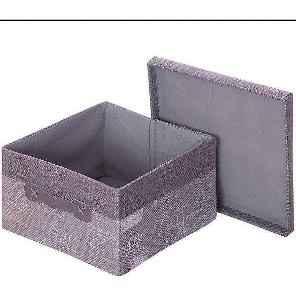 EL Casa Кофр складной для хранения 26*26*16 см. Париж серебро,