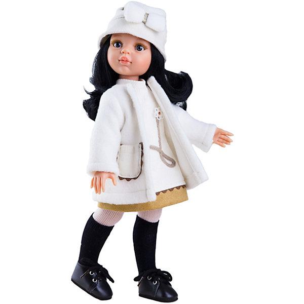 Кукла Карина, 32 см, Paola ReinaБренды кукол<br>Кукла Карина, 32 см, Paola Reina.<br><br>Характеристики:<br><br>• Для детей в возрасте: от 3 лет<br>• Высота куклы: 32 см.<br>• Глаза не закрываются<br>• Дизайн одежды и обуви — Светланы Кривец<br>• Материалы: кукла изготовлена из винила; глаза выполнены в виде кристалла из прозрачного твердого пластика; волосы сделаны из высококачественного нейлона; наряд выполнен из качественного текстиля<br>• Упаковка: красивая картонная коробка с окошком<br><br>Кукла Карина, Paola Reina - это очаровательная брюнетка, которая станет любимой подружкой для вашей девочки. У куклы длинные густые вьющиеся волосы, выполненные из нейлона высокого качества и надёжно прошитые. Волосы блестят, не запутываются. Ваша девочка с легкостью может расчесывать куклу, мыть ей голову, при этом волосы не портятся и не выпадают. <br><br>Лицо куклы выглядит очень правдоподобно за счет тщательно проработанных черт. Большие серо-голубые глаза с длинными ресничками, легкий румянец на щечках, курносый носик и аккуратные губки – Карина завораживает. Глаза куклы не закрываются. <br><br>Карина одета очень красиво и стильно: на ней белое платье и такого же цвета теплое пальто, а дополняет образ модницы шапочка с декоративным бантиком. На ножках у куклы плотные колготки с черными гетрами и темные ботиночки на шнуровке. Одежду можно снимать. <br><br>Кукла имеет пропорциональное телосложение. Голова, руки и ноги подвижны. Тело куклы выполнено из приятного на ощупь нежного бархатистого высококачественного винила, который имеет лёгкий аромат ванили. <br><br>Материалы, из которых изготовлена кукла, прошли все необходимые проверки на безопасность для детей. Качество подтверждено нормами безопасности EN71 ЕЭС.<br><br>Куклу Карина, 32 см, Paola Reina можно купить в нашем интернет-магазине.<br>Ширина мм: 375; Глубина мм: 175; Высота мм: 105; Вес г: 625; Возраст от месяцев: 36; Возраст до месяцев: 144; Пол: Женский; Возраст: Детский; SKU: 6671049;