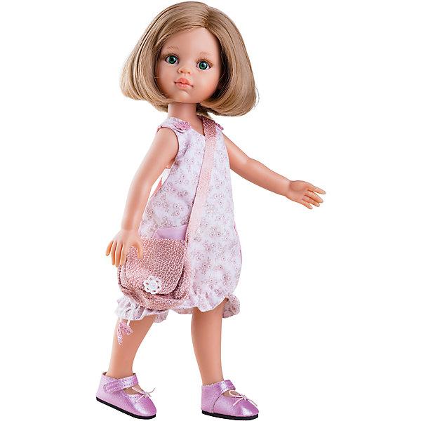 Кукла Карла, 32 см, Paola ReinaКлассические куклы<br>Кукла Карла, 32 см, Paola Reina.<br><br>Характеристики:<br><br>• Для детей в возрасте: от 3 лет<br>• Высота куклы: 32 см.<br>• Глаза не закрываются<br>• Дизайн одежды и обуви — Светланы Кривец<br>• Материалы: кукла изготовлена из винила; глаза выполнены в виде кристалла из прозрачного твердого пластика; волосы сделаны из высококачественного нейлона; наряд выполнен из качественного текстиля<br>• Упаковка: красивая картонная коробка с окошком<br><br>Кукла Карла, Paola Reina - это очаровательная блондинка, которая станет любимой подружкой для вашей девочки. У куклы густые волосы, которые уложены в стильное каре, выполненные из нейлона высокого качества и надёжно прошитые. Волосы блестят, не запутываются. Ваша девочка с легкостью может расчесывать куклу, мыть ей голову, при этом волосы не портятся и не выпадают. <br><br>Лицо куклы выглядит очень правдоподобно за счет тщательно проработанных черт. Большие глаза с длинными ресничками, легкий румянец на щечках, курносый носик и аккуратные губки – Карла завораживает. Глаза куклы не закрываются. <br><br>Карла одета очень красиво и стильно: на ней розовое платье в цветочек с накладными карманами и подолом на резинке, а дополняет образ модницы сумочка через плечо в той же цветовой гамме. На ножках у куклы стильные лиловые туфельки с блестящим покрытием. Одежду можно снимать. <br><br>Кукла имеет пропорциональное телосложение. Голова, руки и ноги подвижны. Тело куклы выполнено из приятного на ощупь нежного бархатистого высококачественного винила, который имеет лёгкий аромат ванили. <br><br>Материалы, из которых изготовлена кукла, прошли все необходимые проверки на безопасность для детей. Качество подтверждено нормами безопасности EN71 ЕЭС.<br><br>Куклу Карла, 32 см, Paola Reina можно купить в нашем интернет-магазине.<br>Ширина мм: 375; Глубина мм: 175; Высота мм: 105; Вес г: 625; Возраст от месяцев: 36; Возраст до месяцев: 144; Пол: Женский; Возраст: Детский; SKU: 6671050;