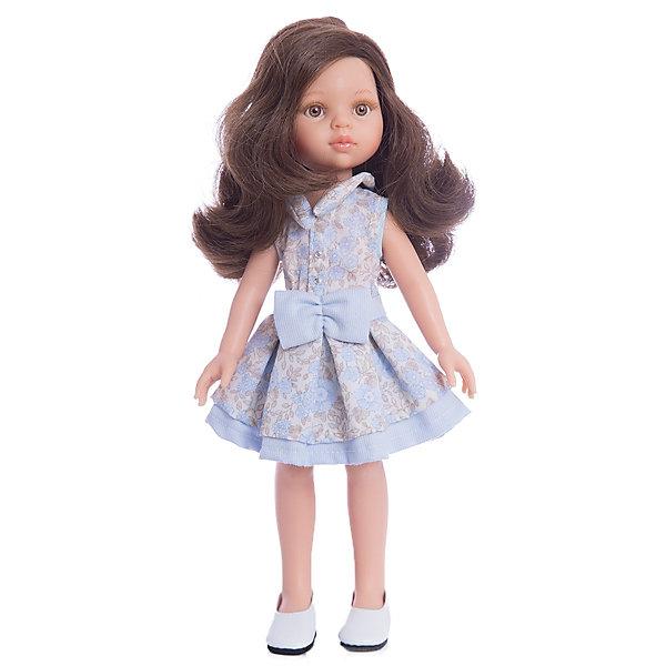 Кукла Кэрол, 32 см, Paola ReinaКлассические куклы<br>Кукла Кэрол, 32 см, Paola Reina.<br><br>Характеристики:<br><br>• Для детей в возрасте: от 3 лет<br>• Высота куклы: 32 см.<br>• Глаза не закрываются<br>• Дизайн одежды и обуви — Светланы Кривец<br>• Материалы: кукла изготовлена из винила; глаза выполнены в виде кристалла из прозрачного твердого пластика; волосы сделаны из высококачественного нейлона; наряд выполнен из качественного текстиля<br>• Упаковка: красивая картонная коробка с окошком<br><br>Кукла Кэрол, Paola Reina - это очаровательная брюнетка, которая станет любимой подружкой для вашей девочки. У куклы густые длинные вьющиеся волосы, выполненные из нейлона высокого качества и надёжно прошитые. Волосы блестят, не запутываются. Ваша девочка с легкостью может расчесывать куклу, мыть ей голову, при этом волосы не портятся и не выпадают. <br><br>Лицо куклы выглядит очень правдоподобно за счет тщательно проработанных черт. Большие карие глаза с длинными ресничками, легкий румянец на щечках, курносый носик и аккуратные губки – Кэрол завораживает. Глаза куклы не закрываются. <br><br>Кэрол одета очень красиво и стильно: на ней пышное платье в коричнево-голубых тонах с цветочным принтом, украшенное голубым бантом, а дополняют образ модницы стильные туфельки на платформе. Все швы на одежде тщательно обработаны. Одежду можно снимать. <br><br>Кукла имеет пропорциональное телосложение. Голова, руки и ноги подвижны. Тело куклы выполнено из приятного на ощупь нежного бархатистого высококачественного винила, который имеет лёгкий аромат ванили. <br><br>Материалы, из которых изготовлена кукла, прошли все необходимые проверки на безопасность для детей. Качество подтверждено нормами безопасности EN71 ЕЭС.<br><br>Куклу Кэрол, 32 см, Paola Reina можно купить в нашем интернет-магазине.<br>Ширина мм: 375; Глубина мм: 175; Высота мм: 105; Вес г: 625; Возраст от месяцев: 36; Возраст до месяцев: 144; Пол: Женский; Возраст: Детский; SKU: 6671052;