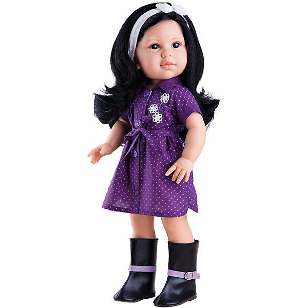 Кукла Лина, 42 см, Paola ReinaКуклы<br>Кукла Лина, 42 см, Paola Reina.<br><br>Характеристики:<br><br>• Для детей в возрасте: от 3 лет<br>• Высота куклы: 42 см.<br>• Глаза закрываются<br>• Материалы: кукла изготовлена из винила; глаза выполнены в виде кристалла из прозрачного твердого пластика; волосы сделаны из высококачественного нейлона; наряд выполнен из качественного текстиля<br><br>Кукла Лина, Paola Reina станет любимой подружкой для вашей девочки. Лина одета в лёгкое фиолетовое платье-рубашку в горошек. На ногах у неё высокие сапоги с сиреневым ремешком. Одежда легко снимается и надевается. Густые длинные темные волосы куклы, выполненные из нейлона высокого качества, украшены повязкой с бантом. Волосы надёжно прошиты, блестят, легко расчесываются, не запутываются. <br><br>Лицо куклы выглядит очень правдоподобно за счет тщательно проработанных черт. Большие глаза, длинные реснички и аккуратные губки – Лина завораживает. Глаза куклы закрываются. <br><br>Кукла имеет пропорциональное телосложение. Голова, руки и ноги подвижны. Тело куклы выполнено из приятного на ощупь высококачественного винила, который имеет лёгкий аромат ванили. <br><br>Материалы, из которых изготовлена кукла, прошли все необходимые проверки на безопасность для детей. Качество подтверждено нормами безопасности EN71 ЕЭС.<br><br>Куклу Лина, 42 см, Paola Reina можно купить в нашем интернет-магазине.<br>Ширина мм: 510; Глубина мм: 175; Высота мм: 105; Вес г: 1225; Возраст от месяцев: 36; Возраст до месяцев: 144; Пол: Женский; Возраст: Детский; SKU: 6671056;