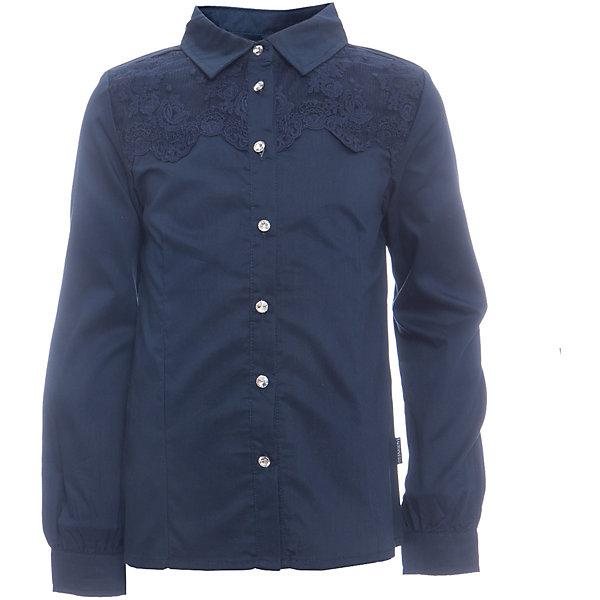 Блузка для девочки LuminosoБлузки и рубашки<br>Характеристики товара:<br><br>• цвет: темно-синий;<br>• состав: 65% хлопок, 32% полиэстер, 3% эластан;<br>• сезон: демисезон;<br>• особенности: школьная, с кружевом;<br>• застежка: пуговицы;<br>• с длинным рукавом;<br>• декорирована кружевом и брошью;<br>• манжеты рукавов на пуговице;<br>• страна бренда: Россия;<br>• страна производства: Китай.<br><br>Школьная блузка с длинным рукавом для девочки. Темно-синяя блузка приталенного кроя. Декорирована кружевом синего цвета и брошью. Застегивается на пуговки, манжеты рукавов на одной пуговице. <br><br>Блузка для девочки Luminoso (Люминосо) можно купить в нашем интернет-магазине.<br>Ширина мм: 186; Глубина мм: 87; Высота мм: 198; Вес г: 197; Цвет: синий; Возраст от месяцев: 84; Возраст до месяцев: 96; Пол: Женский; Возраст: Детский; Размер: 128,122,164,158,152,146,140,134; SKU: 6672083;