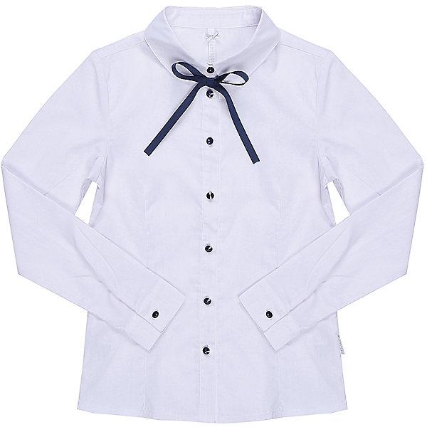 Блузка для девочки LuminosoБлузки и рубашки<br>Характеристики товара:<br><br>• цвет: белый;<br>• состав: 65% хлопок, 32% полиэстер, 3% эластан;<br>• сезон: демисезон;<br>• особенности: школьная, с бантиком;<br>• застежка: пуговицы;<br>• с длинным рукавом;<br>• декорирована бантиком;<br>• манжеты рукавов на пуговице;<br>• страна бренда: Россия;<br>• страна производства: Китай.<br><br>Школьная блузка с длинным рукавом для девочки. Белая блузка приталенного кроя. Застегивается на пуговки, манжеты рукавов на одной пуговице. Декорирована бантиком и пуговками контрастного синего цвета.<br><br>Блузка для девочки Luminoso (Люминосо) можно купить в нашем интернет-магазине.<br>Ширина мм: 186; Глубина мм: 87; Высота мм: 198; Вес г: 197; Цвет: белый; Возраст от месяцев: 72; Возраст до месяцев: 84; Пол: Женский; Возраст: Детский; Размер: 122,164,158,152,146,140,134,128; SKU: 6672101;