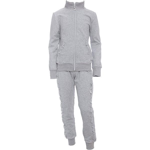 Спортивный костюм для девочки LuminosoСпортивная форма<br>Характеристики товара:<br><br>• цвет: серый<br>• состав: 95% хлопок, 5% эластан<br>• для занятий физкультурой/спортом<br>• застежка: молния<br>• брюки на резинке<br>• дополнительный шнурок на талии брюк<br>• два накладных кармана с оборкой рюшами<br>• эластичные манжеты на рукавах и внизу брючин<br>• страна бренда: Россия<br>• страна производства: Китай<br><br>Спортивный костюм для девочки из трикотажой ткани светло-серого цвета. Кофта с длинным рукавом и вороником стойкой дополнена двумя накладными карманами. Застегижка на молнии. Брюки с эластичным поясом дополнительно регулируется шнурком, штанины снизу собраны на мягкий манжет.<br><br>Спортивный костюм для девочки Luminoso (Люминосо) можно купить в нашем интернет-магазине.<br>Ширина мм: 247; Глубина мм: 16; Высота мм: 140; Вес г: 225; Цвет: серый; Возраст от месяцев: 72; Возраст до месяцев: 84; Пол: Женский; Возраст: Детский; Размер: 122,134,128,164,158,152,146,140; SKU: 6672137;