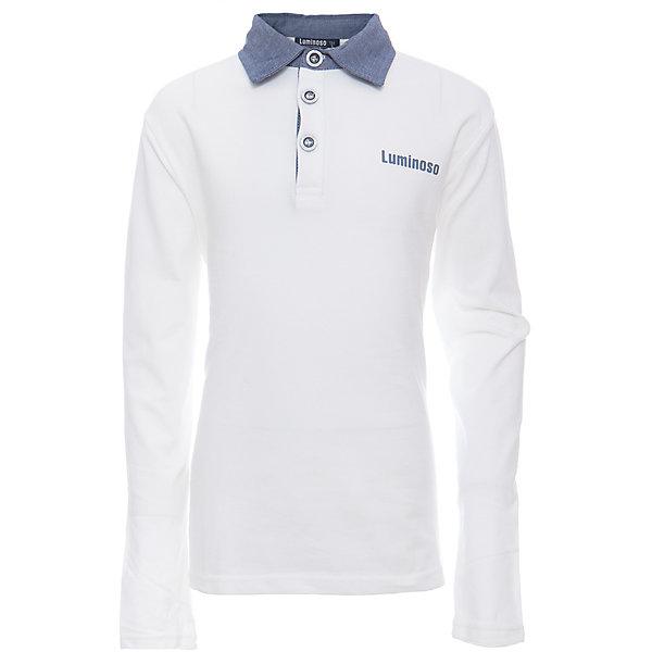 Рубашка-поло для мальчика LuminosoБлузки и рубашки<br>Характеристики товара:<br><br>• цвет: белый<br>• состав: 95% хлопок, 5% эластан<br>• сезон: демисезон<br>• застежка: пуговицы<br>• особенности: школьная<br>• страна бренда: Россия<br>• страна производства: Китай<br><br>Белый джемпер-поло из трикотажной хлопковой ткани с длинным рукавом для мальчика с контрастным, голубым воротничком и карманом. С короткой застежкой на пуговицах.<br><br>Рубашка-поло для мальчика Luminoso (Люминосо) можно купить в нашем интернет-магазине.<br>Ширина мм: 230; Глубина мм: 40; Высота мм: 220; Вес г: 250; Цвет: белый; Возраст от месяцев: 156; Возраст до месяцев: 168; Пол: Мужской; Возраст: Детский; Размер: 164,146,140,134,128,122,158,152; SKU: 6672419;
