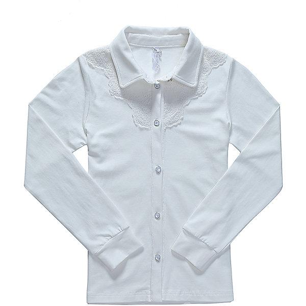 Блузка для девочки LuminosoБлузки и рубашки<br>Характеристики товара:<br><br>• цвет: белый;<br>• состав: 95% хлопок, 5% эластан;<br>• сезон: демисезон;<br>• особенности: школьная, однотонная;<br>• с длинным рукавом;<br>• застежка: пуговицы;<br>• трикотажный эластичные манжеты; <br>• отложной воротничок;<br>• ворот декорирован кружевом;<br>• страна бренда: Россия;<br>• страна производства: Китай.<br><br>Школьная блузка с длинным рукавом для девочки из хлопкового полотна, с отложным воротничком. Рукав с трикотажным манжетом. Блузка декорирована кружевным плетением. Застегивается на изящные пуговки.<br><br>Блузка для девочки Luminoso (Люминосо) можно купить в нашем интернет-магазине.<br>Ширина мм: 186; Глубина мм: 87; Высота мм: 198; Вес г: 197; Цвет: белый; Возраст от месяцев: 72; Возраст до месяцев: 84; Пол: Женский; Возраст: Детский; Размер: 122,164,158,152,146,140,134,128; SKU: 6672887;
