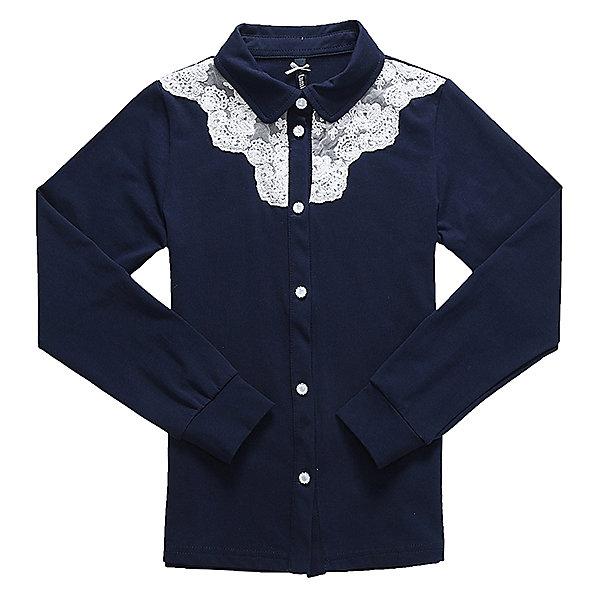 Блузка для девочки LuminosoБлузки и рубашки<br>Характеристики товара:<br><br>• цвет: синий;<br>• состав: 95% хлопок, 5% эластан;<br>• сезон: демисезон;<br>• особенности: школьная, однотонная;<br>• с длинным рукавом;<br>• застежка: пуговицы;<br>• трикотажный эластичные манжеты; <br>• отложной воротничок;<br>• ворот декорирован кружевом;<br>• страна бренда: Россия;<br>• страна производства: Китай.<br><br>Школьная блузка с длинным рукавом для девочки из хлопкового полотна, с отложным воротничком. Рукав с трикотажным манжетом. Блузка декорирована контрастным кружевным плетением. Застегивается на изящные пуговки.<br><br>Блузка для девочки Luminoso (Люминосо) можно купить в нашем интернет-магазине.<br>Ширина мм: 186; Глубина мм: 87; Высота мм: 198; Вес г: 197; Цвет: синий; Возраст от месяцев: 72; Возраст до месяцев: 84; Пол: Женский; Возраст: Детский; Размер: 122,164,158,152,146,140,134,128; SKU: 6672896;