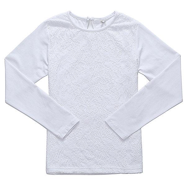Блузка для девочки LuminosoБлузки и рубашки<br>Характеристики товара:<br><br>• цвет: белый;<br>• состав: 95% хлопок, 5% эластан;<br>• сезон: демисезон;<br>• особенности: школьная, с кружевом;<br>• застежка: пуговка на спине;<br>• с длинным рукавом;<br>• спереди декорирована кружевом;<br>• страна бренда: Россия;<br>• страна производства: Китай.<br><br>Школьная блузка с длинным рукавом для девочки. Белая трикотажная блузка застегивается на пуговку на спине. Блузка декорирована кружевом.<br><br>Блузка для девочки Luminoso (Люминосо) можно купить в нашем интернет-магазине.<br>Ширина мм: 186; Глубина мм: 87; Высота мм: 198; Вес г: 197; Цвет: белый; Возраст от месяцев: 72; Возраст до месяцев: 84; Пол: Женский; Возраст: Детский; Размер: 122,164,158,152,146,140,134,128; SKU: 6673013;
